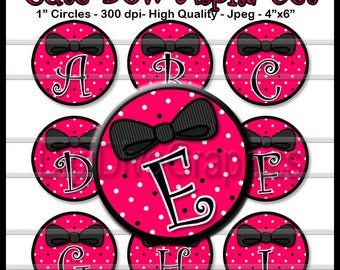 Hot Pink Glam Bow Alphabet Bottle Cap Images 1 Inch Circles Digital JPG A-Z - Instant Download - BC1044