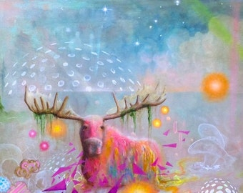 Moose - Print - Artwork - Art - Nature - Surrealism - Painting - Magical - Surreal