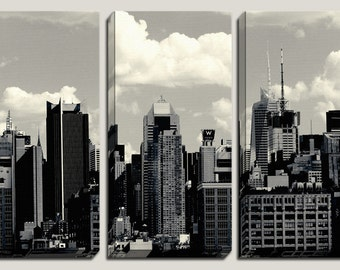 Large Canvas Art, New York City, The Big Apple, NYC, City, Urban, Lifestyle, Wall Mural, 3 Panel, Triptych, Photography, Black and White