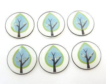 """6 Handmade Buttons.  Green and BlueTree Buttons. 3/4"""" or 20 mm."""