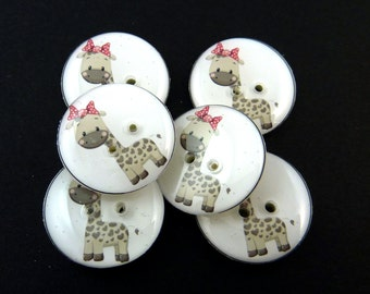 "6 Tan and Grey Giraffe Buttons.  Handmade Buttons.  Sewing Buttons. 3/4"" or 20 mm. Handmade by me.  Washer and Dryer Safe."