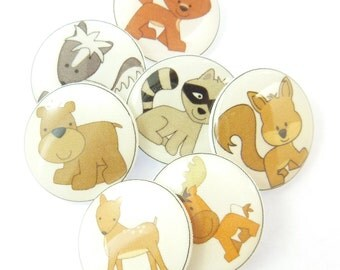 "7 Woodland Animal  Buttons. Handmade SHANK Sewing Buttons. 3/4"" or 20 mm.  Novelty Buttons. Craft Buttons."