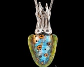 Cuttlefish Necklace - Tentacle Necklace - Dichroic Glass Necklace - Dichroic Glass Jewelry - Cuttlefish Jewelry  -Tentacle Jewelry - Squid