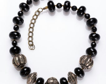 Faceted black onyx choker * evening style