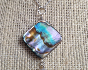 Abalone Pendant Necklace, White Freshwater Pearl Sterling Silver Chain Reversible Multicolor Necklace Aqua Pink Purple