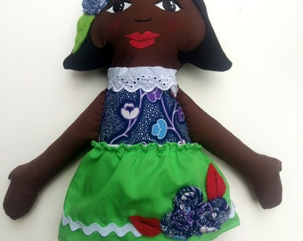 Cloth Doll African American Rag Doll -Ready To Ship Fabric Doll  Soft Doll Christmas Doll Gifts Under 50 Ethnic Doll Black Doll
