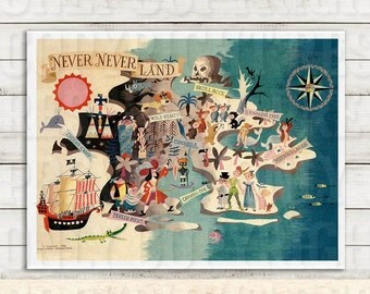 Peter Pan Neverland Printable. Vintage Childrens Printable, Printable, Disney Kids Art, Disney Illustration, Nursery, Girls, Kids Room Decor