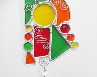 Suncatchers Stained Glass Suncatchers Home Decor Window Hanging Modern Abstract Glass Art
