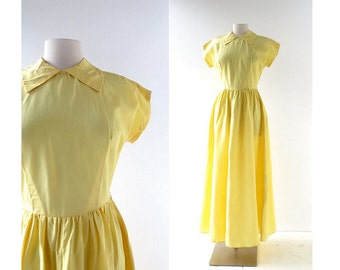Vintage 1940s Gown / Yellow Taffeta Dress / 40s Dress / XS