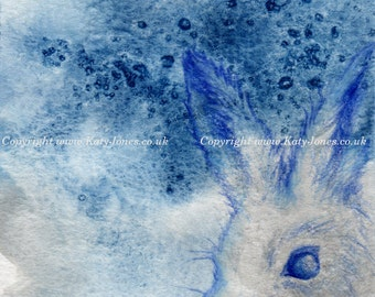 Arctic Hare Card - blank greetings card, winter wildlife, birthday, handmade, rabbit, art, nature, blue, any occasion, watercolour, drawing