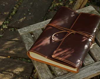 A4, Large, Rugged Leather Journal, Leather Wraparound Journal, Chestnut Brown Leather, Wrap Notebook, Desk Diary, Leather Guestbook, UK.