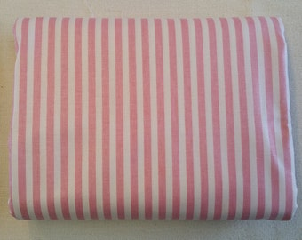 PK066 ~ Striped fabric Pink and white Wide stripes Cotton
