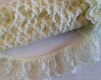 LA002 ~ Yellow lace Gathered trim Ruffles Cotton