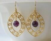 Amethyst Purple Dangle Earrings, Jewelry, Earrings, Purple