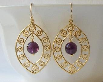 Amethyst Purple Earrings