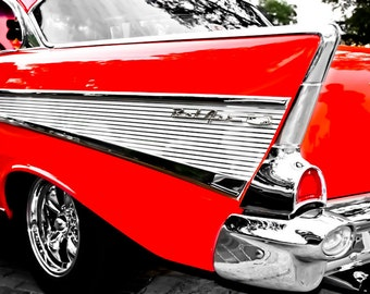 Chevrolet Bel Air Fin Car Photography, Automotive, Auto Dealer, Muscle, Sports Car, Mechanic, Boys Room, Garage, Dealership Art