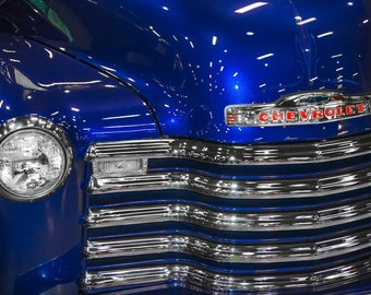 1948 Blue Chevrolet 3100 Pickup Truck Photography, Automotive, Auto Dealer, Muscle, Sports Car, Mechanic, Boys Room, Garage, Dealership Art