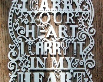 Template! I Carry Your Heart Papercut