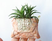Pink Vase Ornament - Hanging Ceramic Planter - Small Pocket Pouch Decor for Air Plants - Indoor Planter for Office