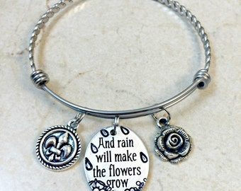 Les Miserable Bracelet, Les Mis Bangle, Les Miserables Jewelry, Eponine Quote. Rain will Make the Flowers Grow, Fleur de Lis Charm