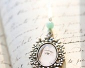 Emily Dickinson Hand-Painted Eye Miniature Portrait necklace Original Painting Pendant