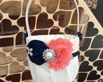 NAVY & CORAL Flower girl basket / rustic wedding basket / NAVY coral wedding / wedding basket