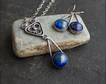 Lapis Lazuli Necklace Earrings Set - Gemstone Jewelry, Gold Pyrite, Teardrop Pendant, Dark Oxidized Patina, Boho Metalwork Jewelry
