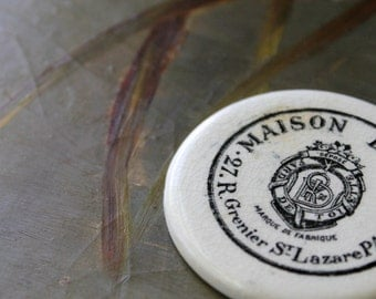 French Maison Dorin Powder Disc, Paris Cosmetics, French Pressed Powder, Antique Porcelain Pot Lid, Victorian Era