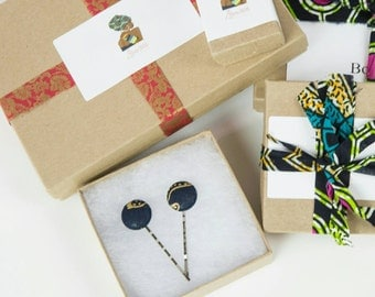 African fabric bobby pin hair clips