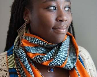 African fabric scarf, Vlisco scarf, Infinity scarf, Reversible infinity scarf, African scarves, African fabric, African infinity scarf, Gift