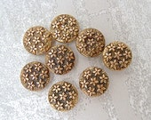 Wee Gold Flower Buttons 10mm - 3/8 inch Antiqued Gold Tone Flowers Allover Buttons - 8 VTG Gold Metalized Plastic Flower Buttons PL424 2LS