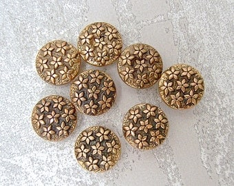 Wee Gold Flower Buttons 10mm - 3/8 inch Antiqued Gold Tone Flowers Allover Shank Buttons - 8 VTG Gold Metalized Plastic Flower Buttons PL424