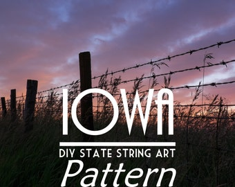 "Iowa - DIY State String Art Pattern - 10.5"" x 7"" - Hearts & Stars included"