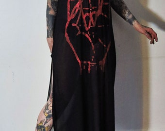 Hell Couture Sign Of Voor Mesh Slit Maxi Dress
