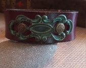 Upcycled Burgundy Leather Cuff with Hand Forge Copper with Patina Filgree