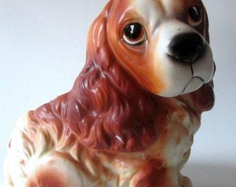 Vintage Art Pottery Ceramic Spaniel Puppy Dog Planter Napcoware Napco Japan Big Eyes Brown White Black Nose Sitting