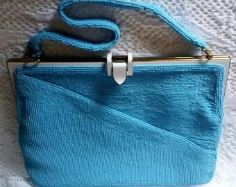 Gorgeous Mediterranean Blue Beaded Walborg Hand Beaded Handbag