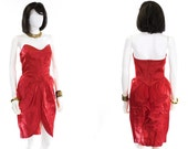 Sweetheart Dress Red Satin Ruffle Back Strapless Party Mini Dress Size Small