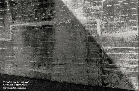 UNDER THE OVERPASS, Double negative, Clyde Keller Photo, Fine Art Print, Black and White, Signed