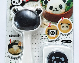 Panda Face Rice Mold / Mould / Onigiri Shaper / Stencil & Nori Seaweed Punch Set For Japanese Bento Lunches