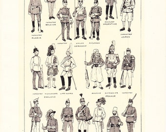 1917 Military Print - WW1 Uniforms - Vintage Antique Home Decor Book Plate Art Illustration for Framing