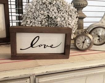 Love, Love sign, Wood sign, Sign, Wooden sign, Cottage decor, Cottage chic, Farmhouse decor, Framed art, Framed wall art, Home decor