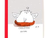Funny Christmas Cat Card - Christmas Angel