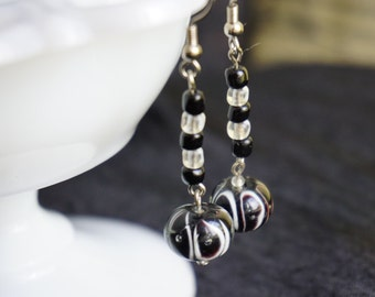 Bold black and white earrings