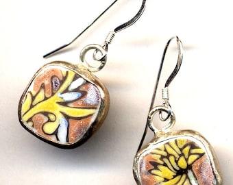 Small Recycled Broken China Earrings, Antique Pottery Earrings on Sterling Silver ear wire, Petite Earrings, Handmade Jewelry by AnnaArt72