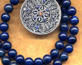 Mandala Nepal Necklace, Lapis Lazuli Mandala, Tibet Mandala Lapis Necklace, Blue Lapis Necklace, Nepal Jewelry by AnnaArt72