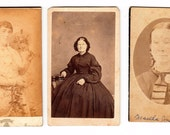 CDV Photo Lot 8 Victorian Women Teen Girls Granny antique Sepia Found Photographs