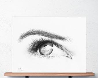 Photorealistic Eye Drawing with Portland Bridge in Reflection, Portland Bridge Art, Hawthorne Bridge, Woman's Eye, Flirty Eyes, Feminine Art