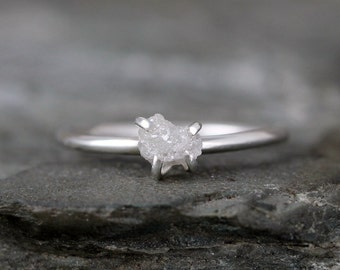 Raw Diamond Engagement Ring - Conflict Free - Sterling Silver Polished Finish - Stacking Ring- Raw Gemstone -April Birthstone - Promise Ring