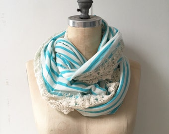 The Infinity Scarf in Turquoise Stripe with Lace, Ready to Ship